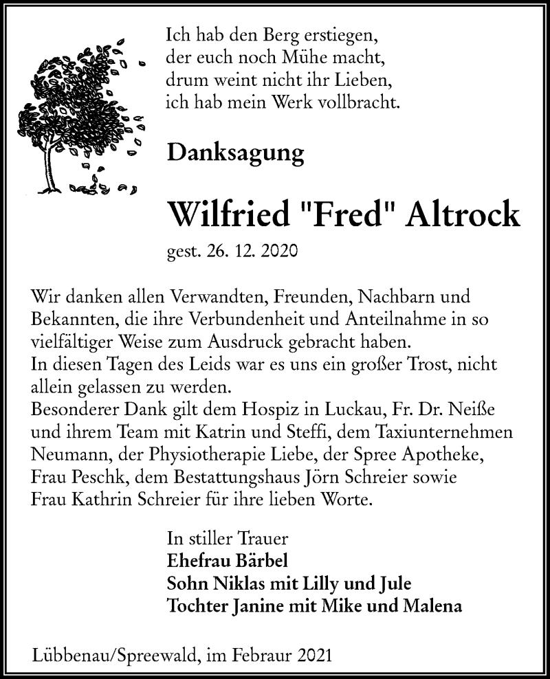 Traueranzeige für Wilfried Altrock vom 13.02.2021 aus lausitzer_rundschau