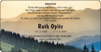 Traueranzeige von Ruth Opitz von lausitzer_rundschau