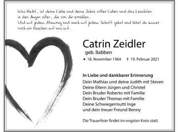 Traueranzeige von Catrin Zeidler von lausitzer_rundschau