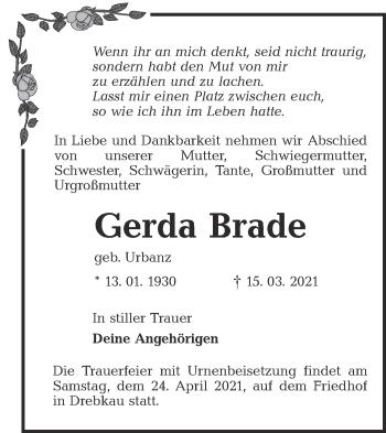 Traueranzeige von Gerda Brade von lausitzer_rundschau