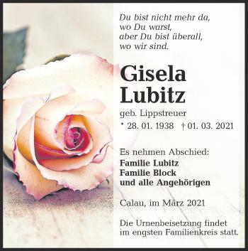 Traueranzeige von Gisela Lubitz von lausitzer_rundschau