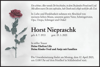 Traueranzeige von Horst Niepraschk von lausitzer_rundschau