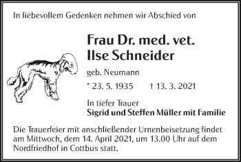 Traueranzeige von Ilse Schneider von lausitzer_rundschau