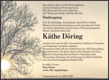 Traueranzeige von Käthe Döring von lausitzer_rundschau