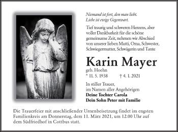 Traueranzeige von Karin Mayer von lausitzer_rundschau