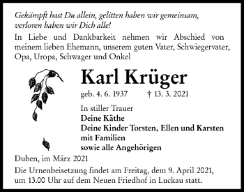 Traueranzeige von Karl Krüger von lausitzer_rundschau