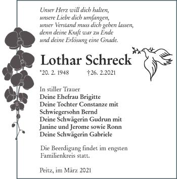 Traueranzeige von Lothar Schreck von lausitzer_rundschau