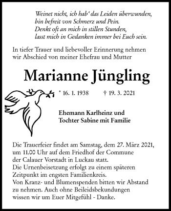 Traueranzeige von Marianne Jüngling von lausitzer_rundschau