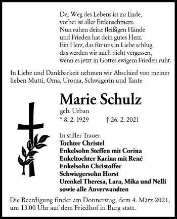 Traueranzeige von Marie Schulz von lausitzer_rundschau