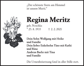 Traueranzeige von Regina Meritz von lausitzer_rundschau