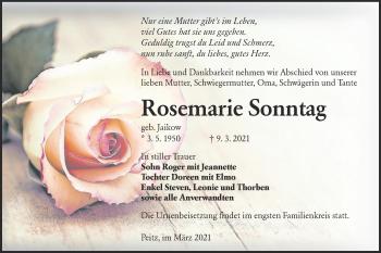 Traueranzeige von Rosemarie Sonntag von lausitzer_rundschau