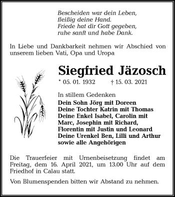 Traueranzeige von Siegfried Jäzosch von lausitzer_rundschau
