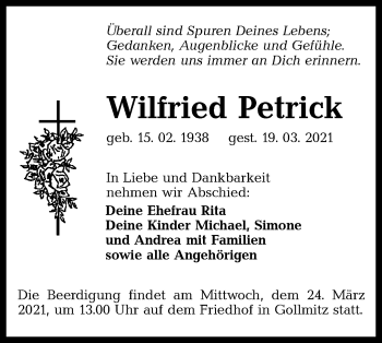 Traueranzeige von Wilfried Petrick von lausitzer_rundschau