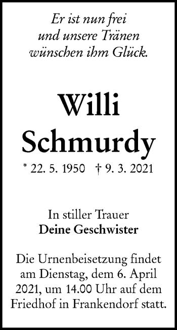 Traueranzeige von Willi Schmurdy von lausitzer_rundschau