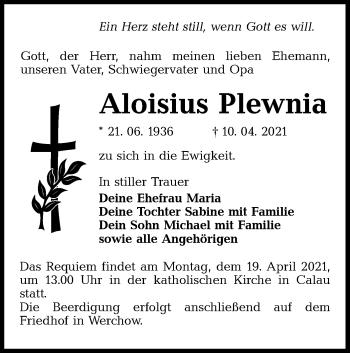 Traueranzeige von Aloisius Plewnia von lausitzer_rundschau