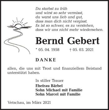 Traueranzeige von Bernd Gebert von lausitzer_rundschau