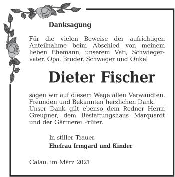 Traueranzeige von Dieter Fischer von lausitzer_rundschau