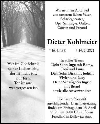 Traueranzeige von Dieter Kohlrneier von lausitzer_rundschau