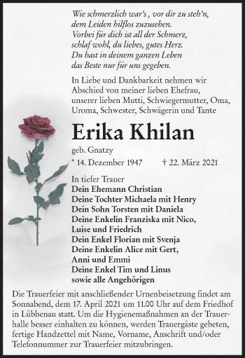 Traueranzeige von Erika Khilan von lausitzer_rundschau