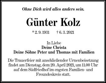 Traueranzeige von Günter Kolz von lausitzer_rundschau