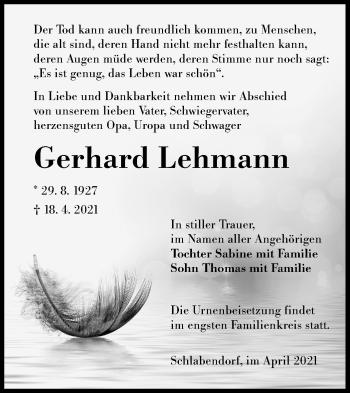 Traueranzeige von Gerhard Lehmann von lausitzer_rundschau