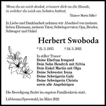 Traueranzeige von Herbert Swoboda von lausitzer_rundschau