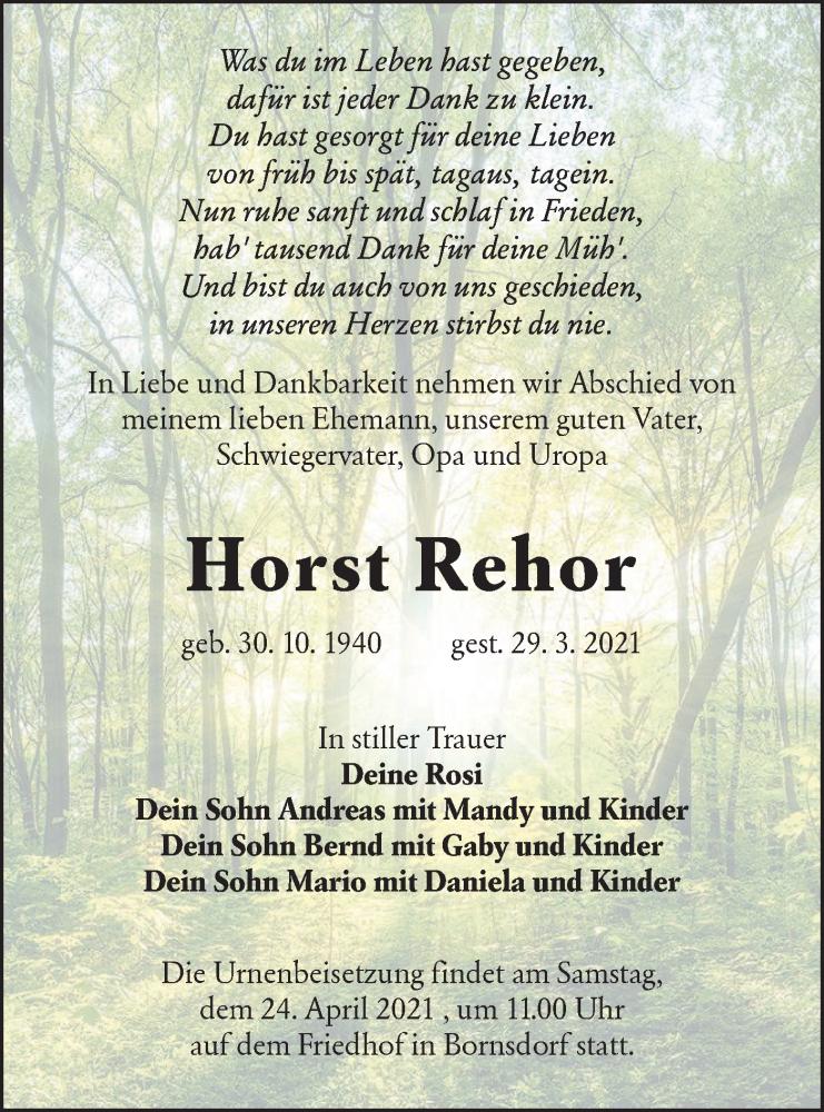 Traueranzeige für Horst Rehor vom 03.04.2021 aus lausitzer_rundschau