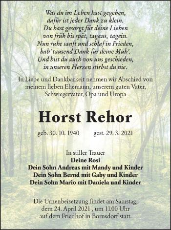 Traueranzeige von Horst Rehor von lausitzer_rundschau