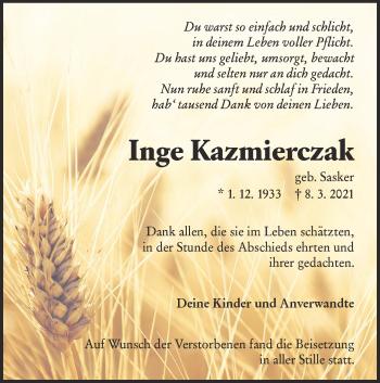 Traueranzeige von Inge Kazmierczak von lausitzer_rundschau