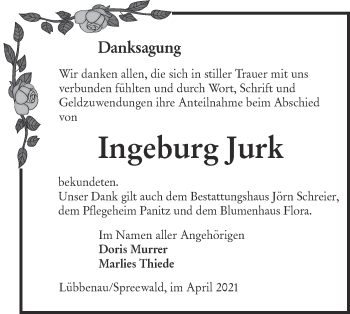 Traueranzeige von Ingeburg Jurk von lausitzer_rundschau