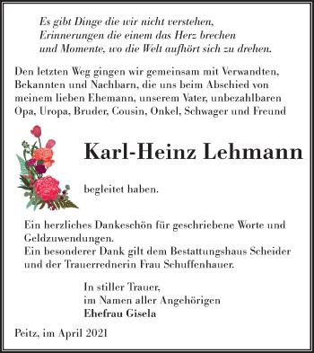 Traueranzeige von Karl-Heinz Lehmann von lausitzer_rundschau