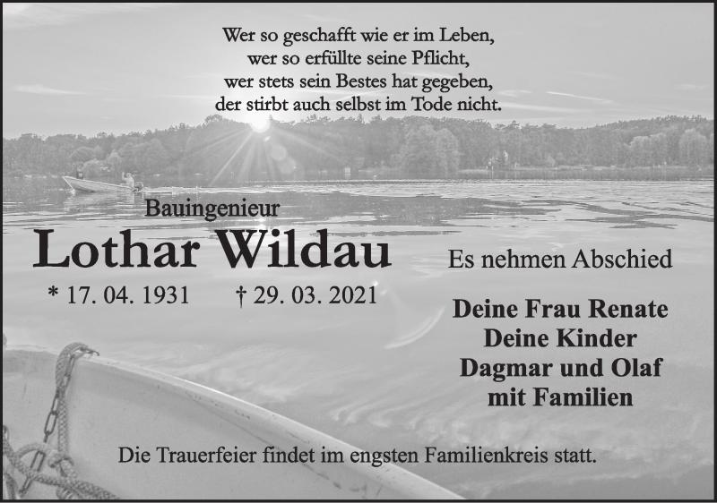 Traueranzeige für Lothar Wildau vom 03.04.2021 aus lausitzer_rundschau