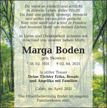 Traueranzeige von Marga Boden von lausitzer_rundschau