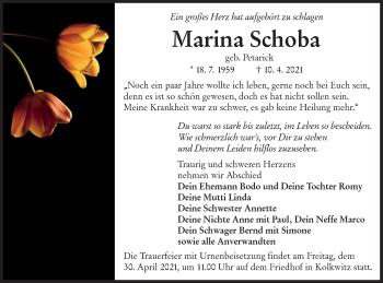Traueranzeige von Marina Schoba von lausitzer_rundschau