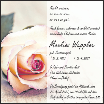 Traueranzeige von Marlies Wappler von lausitzer_rundschau