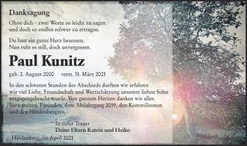 Traueranzeige von Paul Kunitz von lausitzer_rundschau