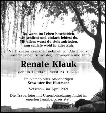 Traueranzeige von Renate Klauk von lausitzer_rundschau