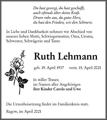 Traueranzeige von Ruth Lehmann von lausitzer_rundschau