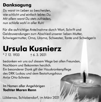 Traueranzeige von Ursula Kusnierz von lausitzer_rundschau