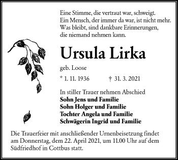 Traueranzeige von Ursula Lirka von lausitzer_rundschau