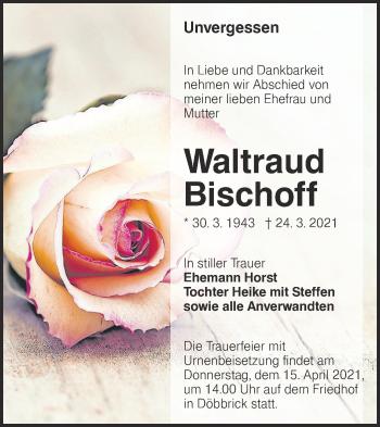 Traueranzeige von Waltraud Bischoff von lausitzer_rundschau
