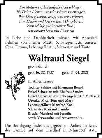Traueranzeige von Waltraud Siegel von lausitzer_rundschau
