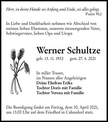 Traueranzeige von Werner Schultze von lausitzer_rundschau