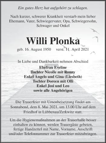 Traueranzeige von Willi Plonka von lausitzer_rundschau