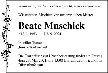 Traueranzeige von Beate Muschick von lausitzer_rundschau