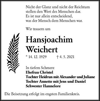 Traueranzeige von Hansjoachim Weichert von lausitzer_rundschau