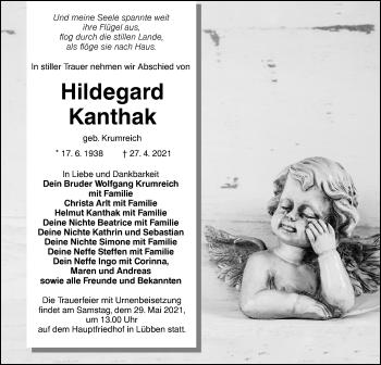 Traueranzeige von Hildegard Kanthak von lausitzer_rundschau