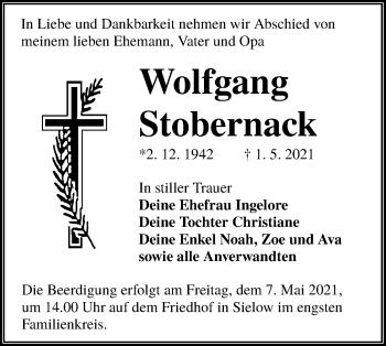 Traueranzeige von Wolfgang Stobernack von lausitzer_rundschau