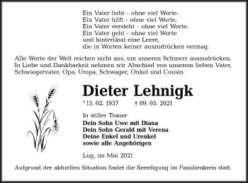 Traueranzeige von Dieter Lehnigk von lausitzer_rundschau