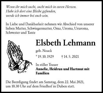 Traueranzeige von Elsbeth Lehmann von lausitzer_rundschau